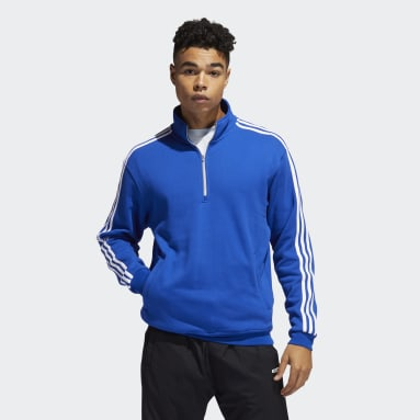 Men Originals Blue Quarter-Zip Football Jacket
