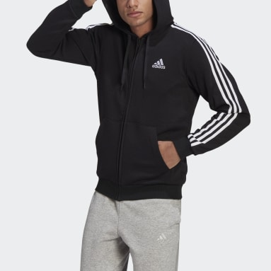 Men Sport Inspired Black Essentials Fleece 3-Stripes Full-Zip Hoodie