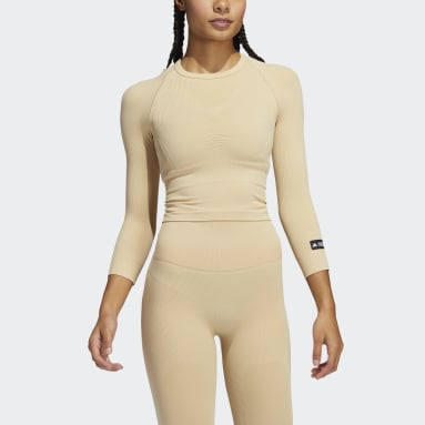 Frauen Fitness & Training Formotion Cropped Training Oberteil Beige