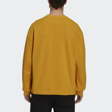 Men Y-3 Yellow Y-3 Classic Heavy Piqué Crew Sweatshirt