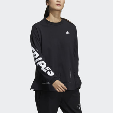 Women Sportswear Black Word Long Sleeve Tee