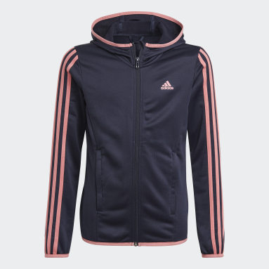 Mädchen Sportswear adidas Designed To Move 3-Stripes Kapuzenjacke Blau