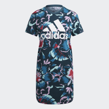Vestido Camiseta Estampa Floral FARM Rio Turquesa Mulher Estilo Esportivo