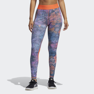 Tight Techfit Mid-Rise Floral Turchese Donna Fitness & Training