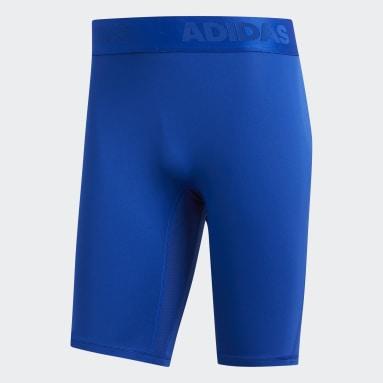 Heren Yoga Blauw Alphaskin Sport Korte Legging
