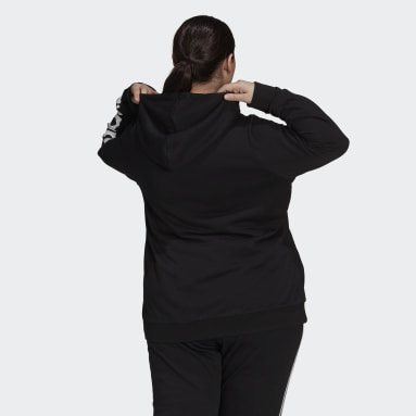 Essentials Logo Full-Zip Hoodie (Plus Size) Czerń