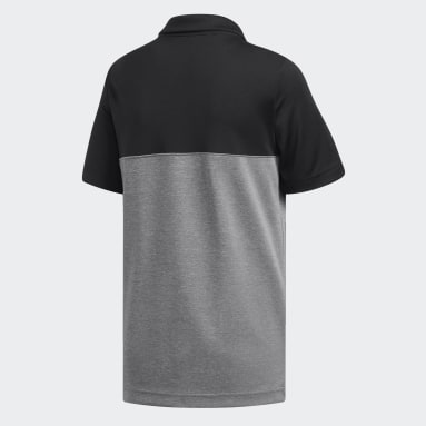 Youth Golf Black Heather Colorblock Polo Shirt