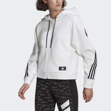 Women Sportswear White adidas Sportswear Wrapped 3-Stripes Full-Zip Hoodie