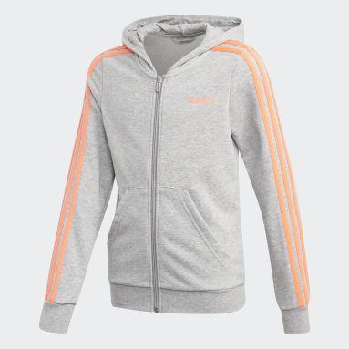 Youth 8-16 Years Gym & Training Grey Essentials 3-Stripes Hoodie