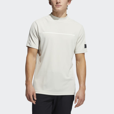 Men Golf Beige Adicross Draw Fade Mock Tee