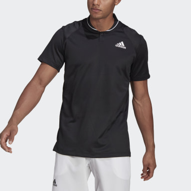 Men Tennis Black Club Tennis Ribbed Polo Shirt