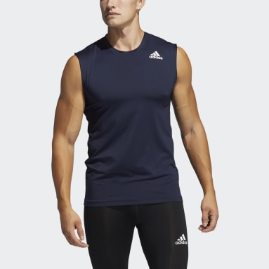 Muži Cricket modrá Tričko Techfit Sleeveless Fitted