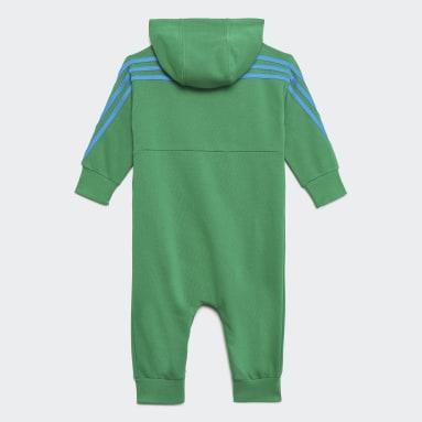 Infants เทรนนิง สีเขียว ชุดจัมพ์สูทมีฮู้ด adidas x Classic LEGO®