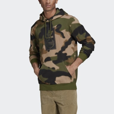 Sweat-shirt à capuche Camo Allover Print Vert Hommes Originals