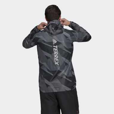 Men TERREX Grey Terrex Agravic Graphic 2.5 Layer Rain Jacket
