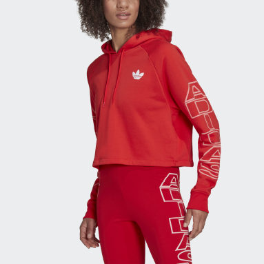 Women Originals Red Cropped Letter Hoodie
