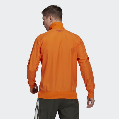 Men Football Orange Manchester United Presentation Jacket