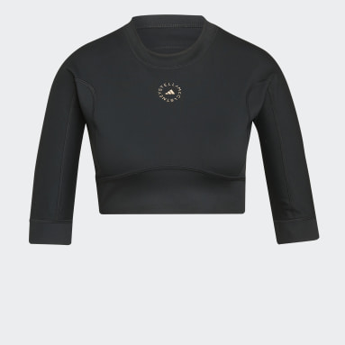 Women adidas by Stella McCartney Black adidas by Stella McCartney TrueStrength Yoga Crop Long-Sleeve Top