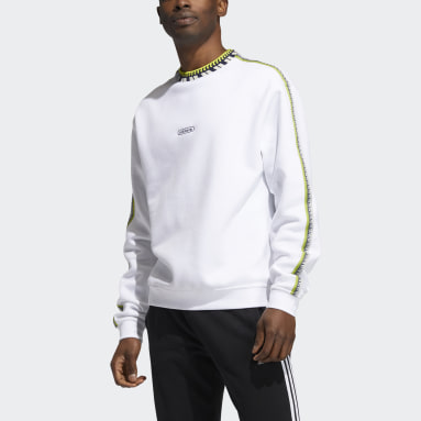 Men's Originals White Rib Detail Crewneck Sweatshirt
