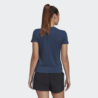 Women Sport Inspired Blue Tropical Graphic Tee