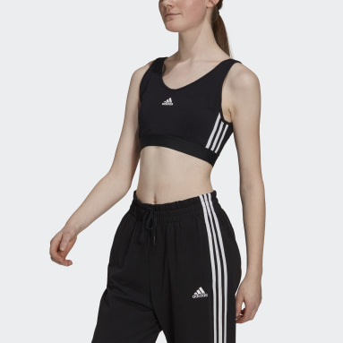 Women Sport Inspired Black Essentials 3-Stripes Crop Top With Removable Pads