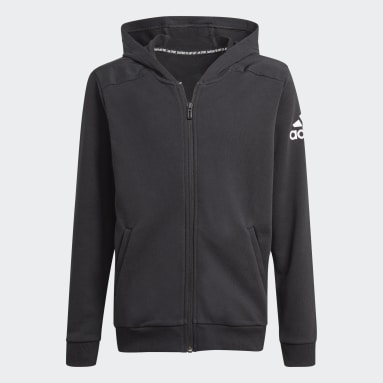 Youth 8-16 Years Gym & Training Black Logo Full-Zip Hoodie