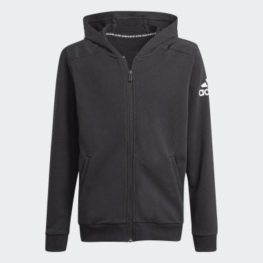 Boys Gym & Training Black Logo Full-Zip Hoodie