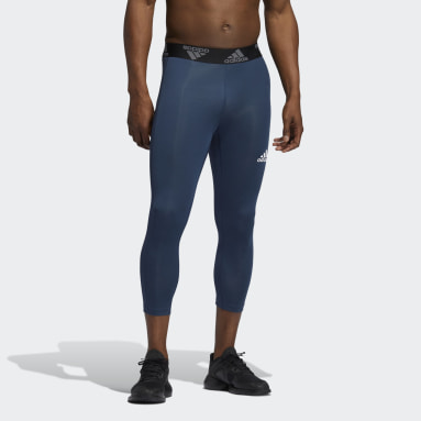 Men Training Blue Techfit 3/4 3-Stripes Tights