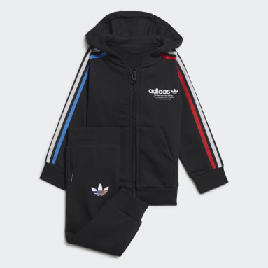 Kids Originals Black Adicolor Full-Zip Hoodie Set