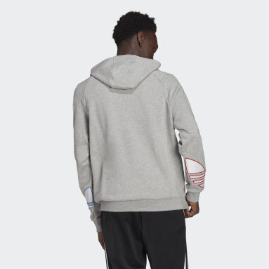 Men Originals Grey Adicolor Tricolor Trefoil Hoodie