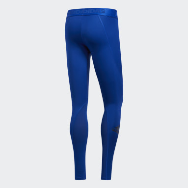 Collant Alphaskin Sport Long Bleu Hommes Yoga