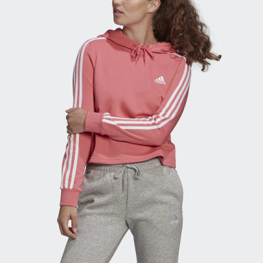 Women Sport Inspired Pink Essentials 3-Stripes Cropped Hoodie