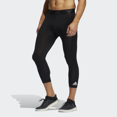 Men Running Black Techfit 3/4 Tights