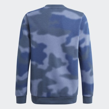 Youth Originals Blue Allover Print Camo Crew Sweatshirt