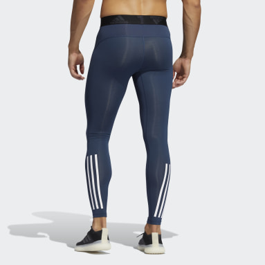 Tight lunghi Techfit 3-Stripes Blu Uomo Fitness & Training