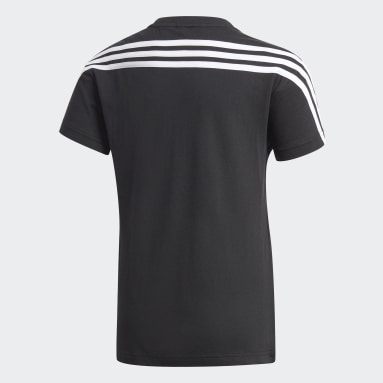 Youth Training Black 3-Stripes Cotton Tee
