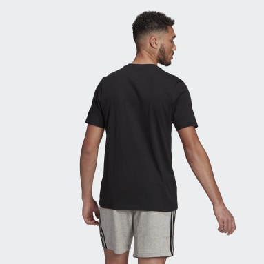 Männer Sportswear Essentials Embroidered Linear Logo T-Shirt Schwarz
