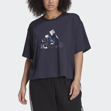 Women's Essentials Blue adidas x Zoe Saldana Crop Logo Tee (Plus Size)
