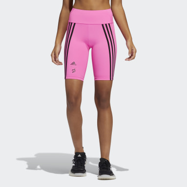 Women Gym & Training Pink adidas x Peloton 9-Inch Short Tights