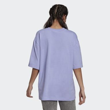 Dames Originals Paars Adicolor Tricolor Oversized T-shirt