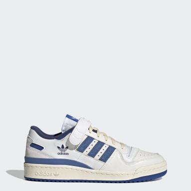 Men's Originals White Forum 84 Low Blue Thread Shoes