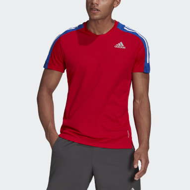 Men Running Red Own The Run 3-Stripes Running Tee