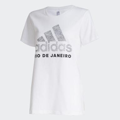 Camiseta RJ Scrawl Branco Mulher Sportswear