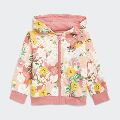 Girls Originals Pink HER Studio London Floral Hoodie sæt