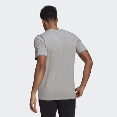 Men Sport Inspired Grey Essentials Embroidered Linear Logo Tee