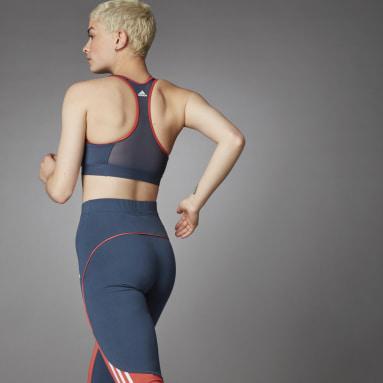 Women's Running Blue Medium Support Don't Rest 3 Bar Bra