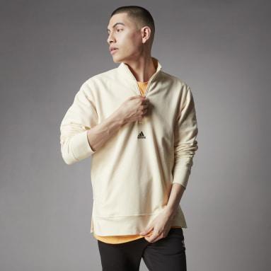 Männer Freizeit Terra Love Half-Zip French Terry Sweatshirt Weiß