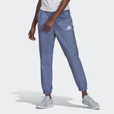 ผู้หญิง Sport Inspired สีม่วง กางเกงผ้าทอขายาวเอวสูง Brand Love Repeat Logo