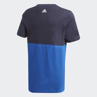 Youth 8-16 Years Gym & Training Blue Linear Colorblock T-Shirt