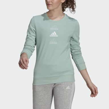 Women Sportswear Green adidas Essentials Stacked Logo Sweatshirt